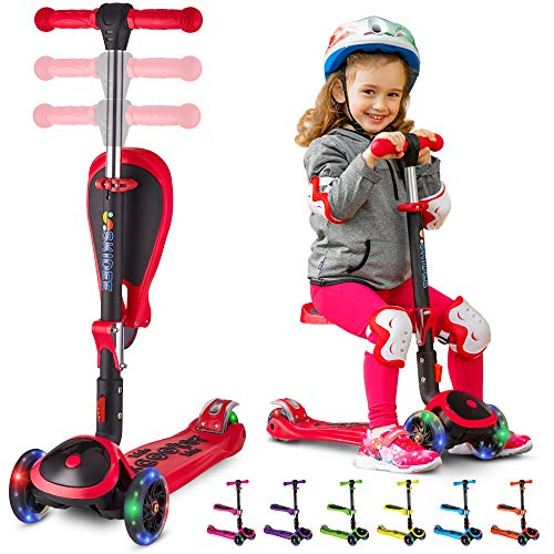SKIDEE Scooter for Kids with Folding Seat – 2-in-1...
