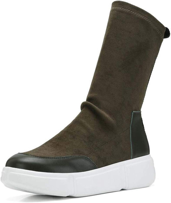 MISS&YG Damen Gelegenheitsstiefel Umgekehrte Stiefel Flache Boden Füe Elastische Stiefel Kurze Stiefel Frauen