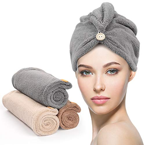 3 Pack Hair Drying Towels, Unimi Hair Towel with Button, Super Absorbent Microfiber Hair Towel for Curly Hair, Fast Drying Hair Wraps for Women Girls, Microfiber Towel for Hair