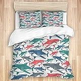 Jojun Funda nórdica, Mezcla de Tiburones de Coloridos Patrones de Familia de Tiburones Toro,...