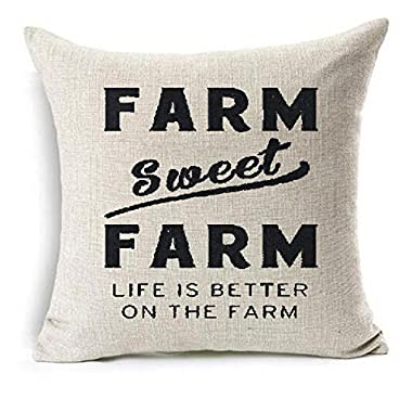 Farm sweet farm life is better on the farm Cotton Linen Throw Pillow covers Case Cushion Cover Sofa Decorative Square 18 x 18 inch (1)