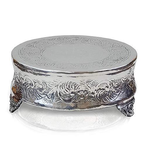 IOTC Silver Finish Wedding Aluminum Cake Stand, 14', Chrome