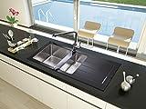 respekta NEWYORK 100x50 Einbauspüle, Glas, Schwarz, 100 cm