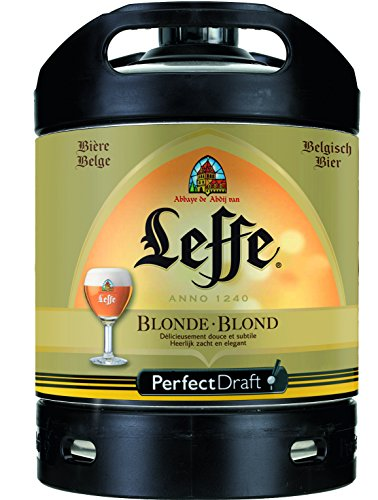 4 x Leffe Blonde Perfect Draft 6l Fass, belgisches Abtei Bier, inkl. 20 Euro Pfand MEHRWEG