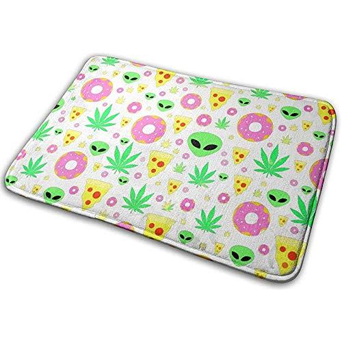 DaiMex Alien Donut Pot Leaf Weed Pizza witte badmat toiletdeksel, absorberend tapijt badkamertapijt