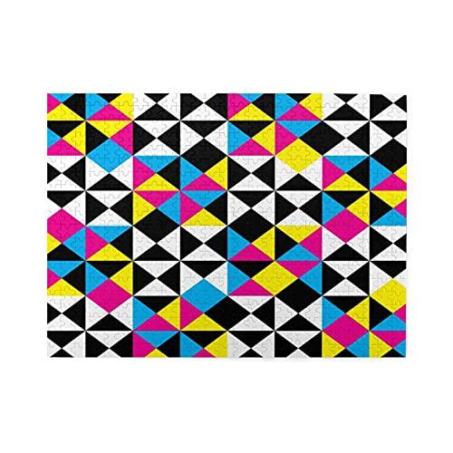 Alvaradod Jigsaw Puzzles 500 Stück,Arabesque Abstract Intersections Pyramide CMYK Plaid Impression Negative Space Design,Family Large Puzzle Game Artwork für Erwachsene Teens Kids