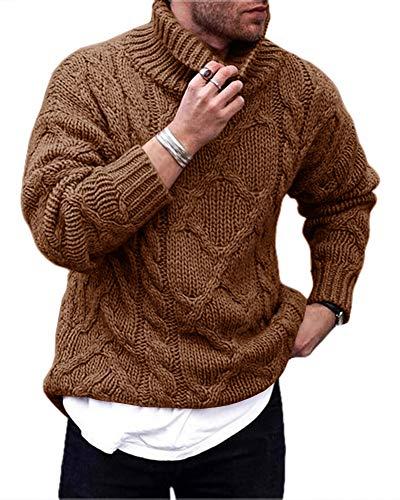 Gemijacka Pullover Herren Rollkragen Strickpullover mit Zopfmuster Winter Turtleneck Sweater