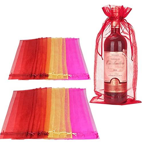 30 Piezas Bolsa de Regalo para Botella de Vino, Bolsas de Organza, Bolsas de Vino de Organza, Bolsa de Regalo con Bolsa de Vino,para la Decoración de Botellas de Vino y Regalos (3 Colores)