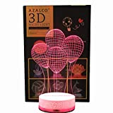 AZALCO 3D Illusion LED Night Lamp Balloon Group with Build in Battery