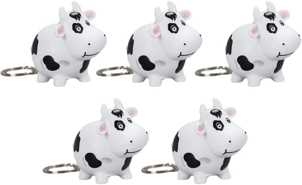 Toyvian 5pcs Cow Keychain LED Glowing Keyring Bag Purse Charms Cow Keyring 2021 Chinese New Year Pendants Keychain