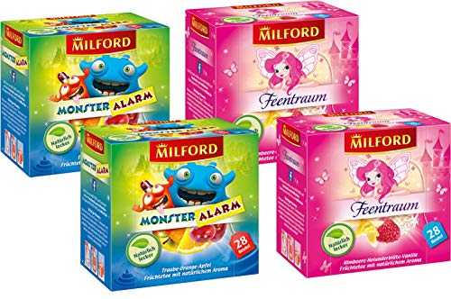 Milford Kindertee | Set 02 | 2 verschiedene Sorten je zwei Packungen | Monster Alarm | Feentraum | Tee | Aufgussbeutel