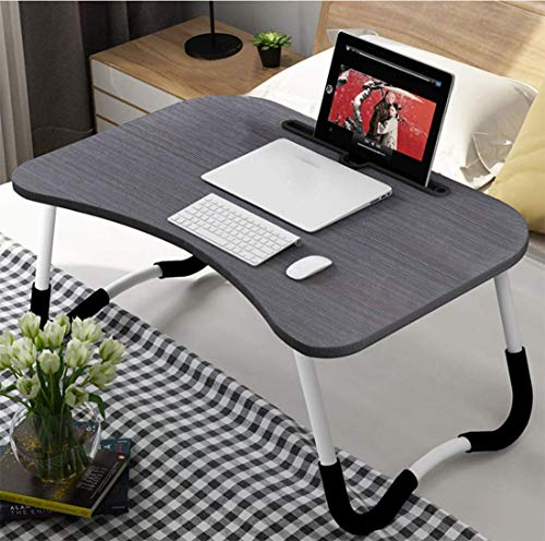 OPPIS Laptop Desk Bed Tray, Foldable Lap Desk Bed Table for Breakfast Serving, Notebook Table with Tablet Slots for Couch Floor for Adults/Students/Kids - Black