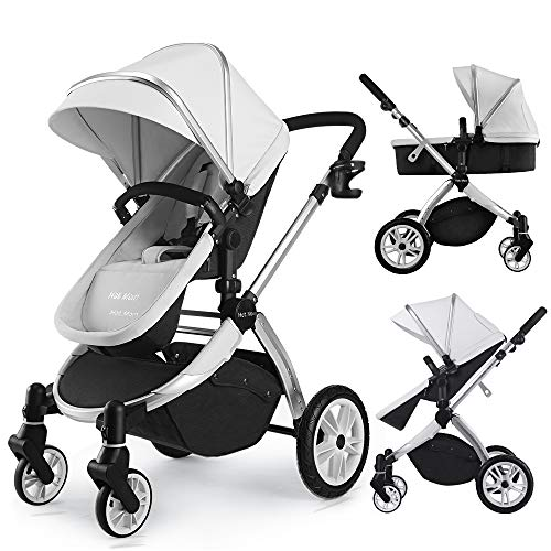 Infant Bassinet Hot Mom 2 in 1 Toddler Stroller Seat and Bassinet Combo,New PU Rubber Wheel,Anti-UV Canopy,Foot Cover with 8 Gifts,Good Quality,Grey