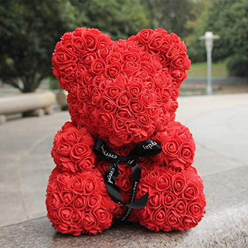 PerGrate 25cm Valentines Day Rose Bear Multi-Color Optional Rose Flower Love Bear Wedding Decor Girlfriend Birthday Valentine Gifts