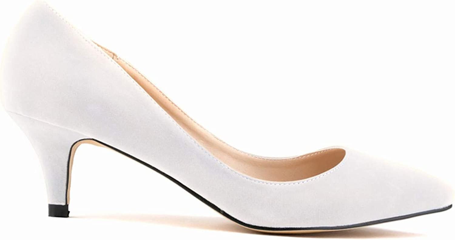Quguangyan Fashion Velvet Women Pumps ol Pointed Toe Low high-Heeled shoes Nude Heels Shallow
