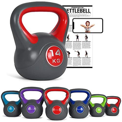 MSPORTS Kettlebell 2 – 20 kg inkl. Übungsposter Kugelhantel (14 Kg - Rot)