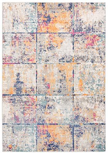 Venus - Alfombra moderna degradada y brillante para salón, dormitorio, salón, efecto carving azul, beige, gris pardo (G038A, 140 x 200 cm)