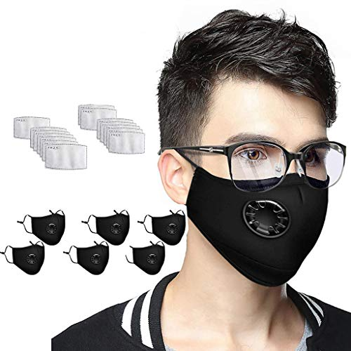 Covermason 6 Stück Mund Schutz mit 14 pcs Filter Waschbar Mundbedeckung mit Ventil Mund und Nasenschutz für Herren Damen (Schwarz, 6pcs+14Filter)