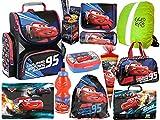 Disney Cars XXL Set Ranzen Schulranzen Tornister Federtasche Federmappe Turnbeutel Brotdose Trinkflasche Regenschutz 12 teiliges Set Schulset Junge
