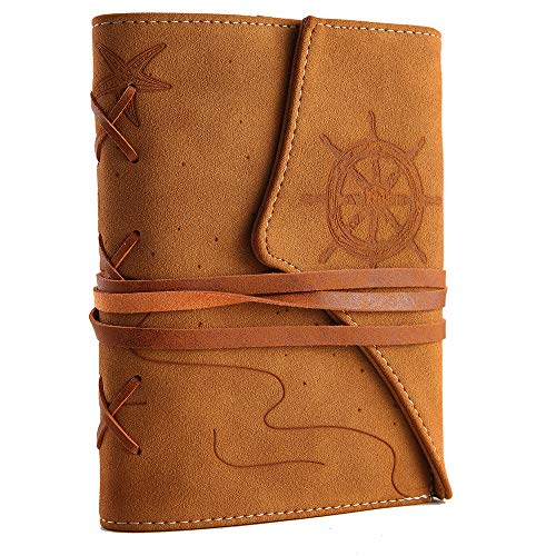 VALERY Nautical Refillable Personal Vegan Leather Journal - String Bound with Built-in Pen Holder and Vintage Brown Lined Diary Notebook, Creative Gift Idea for Vegans/Teachers/Writers