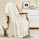 Inhand Knitted Throw Blankets for Couch and Bed, Soft Cozy Knit Blanket with Tassel, Off White Lightweight Decorative Blankets and Throws, Farmhouse Warm Woven Blanket for Men and Women, 50'x60'