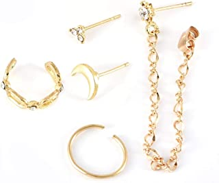 5 Unids/set Mujeres Simple Golden Moon Crystal Geometric Chain Tassel Stud Pendientes Set Charm Party Jewelry Gift Accessories