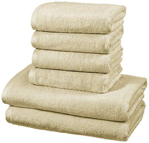 AmazonBasics - Handtuch-Set, schnelltrocknend, 2 Badetücher und 4 Handtücher - Leinenbeige, 100 Prozent Baumwolle