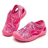 BODATU Boy Girl Water Shoes Breathable Sneakers Sandals Pool Beach Athletic Slip on Aqua Sock Rose Red Little Kid 13.5