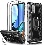 Milomdoi [3 Articulos] 1 Funda +2 Packs Cristal Templado para Xiaomi Redmi 9T, [Grado Militar Anti-Caída] Soporte Giratorio de 360°Grados con Anillo para Redmi 9T, Negro