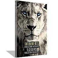 動物のライオンのインスピレーションは成功の勝者を引用しますキャンバスアートポスターと壁アート写真プリントモダンファミリーの寝室の装飾