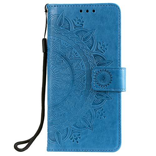 SCRENDY Funda para Xiaomi Poco F3 Case, [Vintage de Billetera Cuero de la PU] Carcasa Magnética con Tapa Abatible y Ranuras para Tarjeta de Crédito-Azul