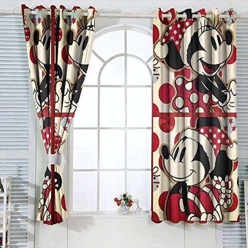 Energy Efficiency Curtains Mic-key Min-nie Mouse Curtains for child living room W72 x L63 Inch Waterproof Window Curtain