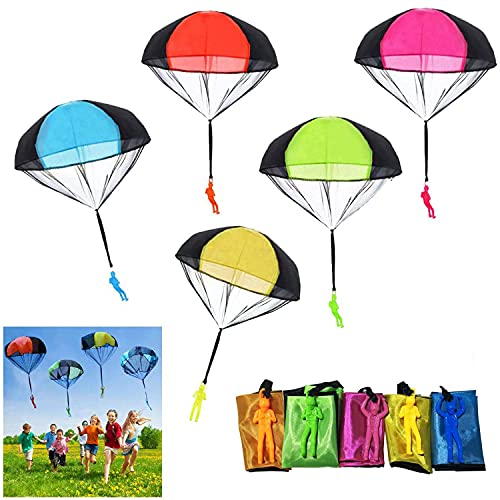 Parachute Toy 10Pieces Children's Flying Toys Tangle Free Throwing Hand Throw Parachute Army Man Toss It Up and Watching Landing Outdoor Toys for Kids Gifts