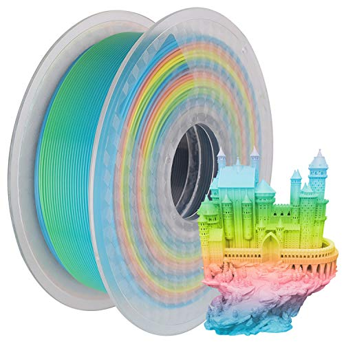iSANMATE's 3D Printer Filament, PLA Filament 1.75 mm Dimensional Accuracy +/- 0.02 mm, 1 KG Spool, PLA Rainbow Multicolor