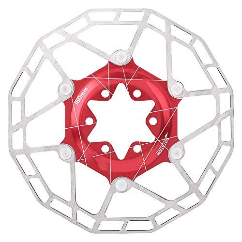 VGEBY Disco de Freno para Bicicleta, Disco Flotante Ultraligero de 160 mm, Rotor de Freno para Bicicleta de montaña con 6 Pernos, Accesorio para Ciclismo(Rojo)