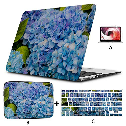 Macbook Air 13 Accessories Blue And Pink Flowers Of Hydrangea Macbook Case 12 Inch Hard Shell Mac Air 11'/13' Pro 13'/15'/16' With Notebook Sleeve Bag For Macbook 2008-2020 Version