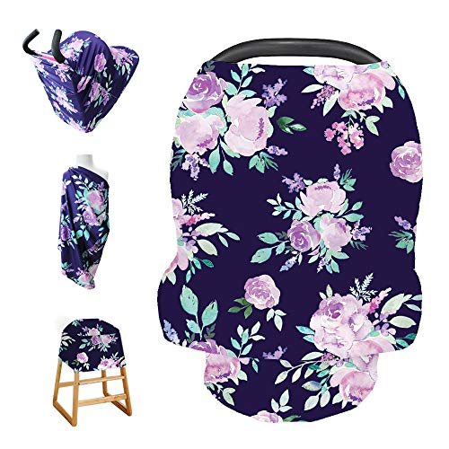 Stretchy Baby Car Seat Cover for Baby Boys and Girls,Multiuse - Nursing Breastfeeding Covers,Shopping Cart/High Chair/Stroller Covers,Infinity Scarf,Car Seat Canopies(Violet Flower)