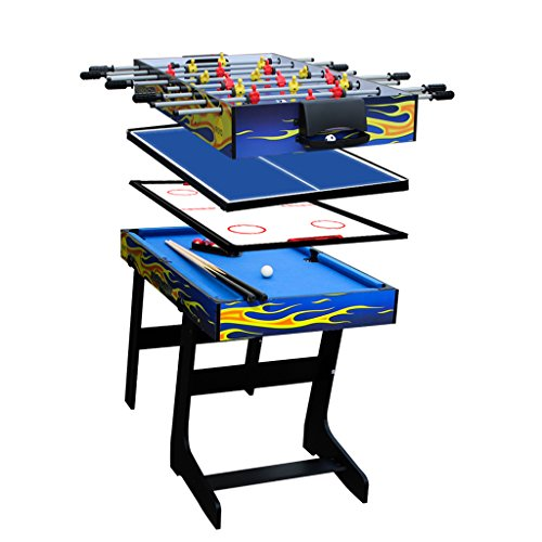 IFOYO Multi Function Combo Game Table, Steady 4 in 1 Pool Table for Kids, Hockey Table, Soccer Foosball Table, Table Tennis Table,Ideal for Kids, 31.5 Inches, Blue