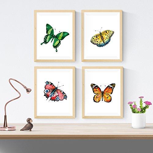 Set van 4 frames voor frame, 4 vlinders, A4-formaat. Interior. 250 gram papier van hoge kwaliteit. Versier de woonkamer of maak het perfecte cadeau.
