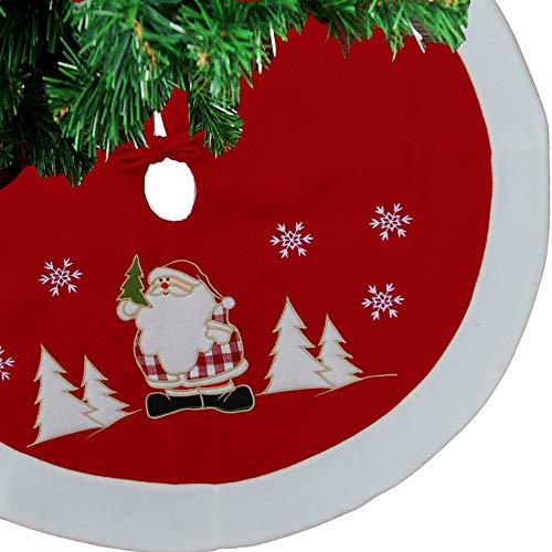 """F.O.T Rot 36"""" Gestickte Schneeflocken Weihnachtsmann Weiße Grenze Weihnachtsbaum Rock, Doppelschichten Weichen Teppich Matte Runde Indoor Outdoor Mat Xmas Party Urlaub Dekorationen Ornamente"""