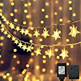 Dooit 49FT 100LED Star String Lights,29V Plug in Fairy String Lights Waterproof,Use for Christmas Birthday,Wedding,Ceremony Party, Indoor/Outdoor Decoration (Warm White)
