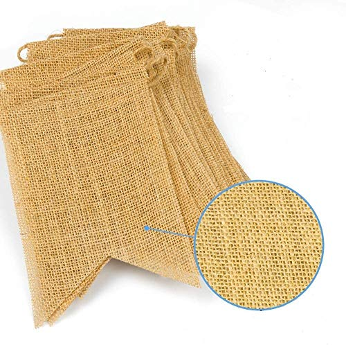 CCTRO 15 Pcs Burlap Banner, 14 Ft Swallowtail Flag, Rustic Country Vintage Burlap Banner for Outdoor Wedding Birthday Party Banquet Decoration