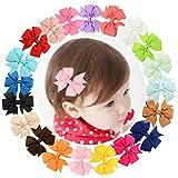 Txian, Haarspangen aus Ripsband, niedliche Schleife, Haarnadel, Blumendesign, Haar-Accessoire für Mädchen, Kind, Baby, 20 Stück
