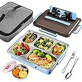 GUSUWU Boîte à bento,Boîte à lunch 6 en 1 en acier inoxydable 304, boîte à bento écologique, convient à la maternelle, à l'école, au travail, au pique-nique et aux voyages (bleu)