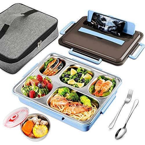 GUSUWU 6 in 1 Lunchbox aus Edelstahl 304, umweltfreundliche Bento-Box, Bento-Box mit fünf Fächern, geeignet für Kindergarten, Schule, Arbeit, Picknick und Reisen(Blau)