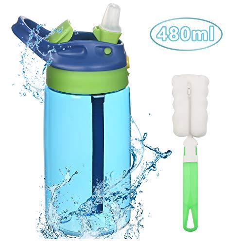 flintronic Botella Agua con Pajitas, Botella de Agua para Niños, 480ml/14.7OZ Botella a prueba de Fugas, Grado alimenticio PP Plástico, para Deportes y Aire Libre, Azul