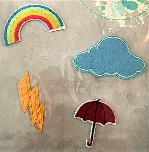 Opstrijkpatch * 4 stuks * Opstrijkplaatjes patch * Weer-motieven: regenboog flits wolk paraplu