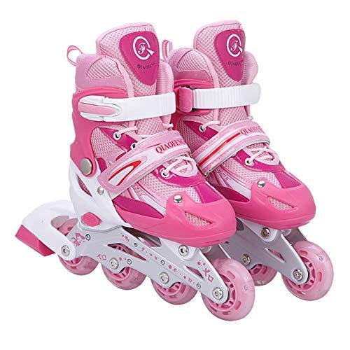MNVOA Inline-Skate LED, Rollerblade für Kinder, ideal für Prinzipien, Comodi, Inliner Inliner für Mädchen und Kinder, Pink,Large/UK5~8/EU38~41