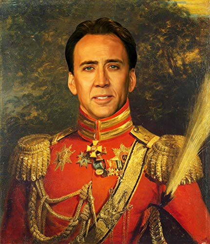 WonderClub Nicolas Cage Poster - Funny Celebrity Art - Faux Oil Painting Print - Novelty Pop Culture Artwork Gift