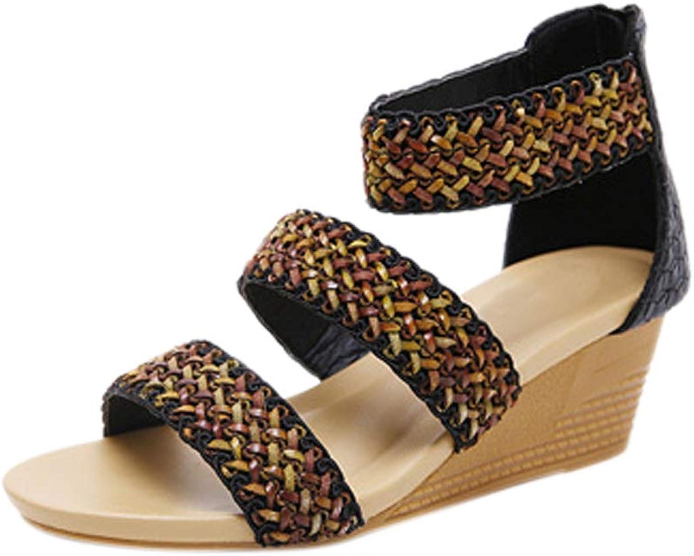 Meijunter Women's Roman Sandals - Summer Beach Post Boho Style Sandal Wedge Heel Bohemia shoes Size 3-8